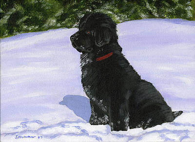 Newfie Painting - Snow Baby by Sharon Nummer
