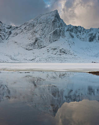 Lofoten Photograph - Snow Covered Mountain Reflected In Lake by © Peter Boehi