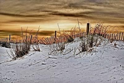 Snow Fence On Horizon Print by Michael Thomas