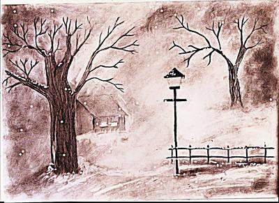 Oil Lamp Drawing - Snow by Sanjay Avasarala
