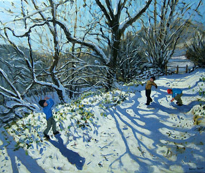 Winter Fun Painting - Snowball Fight by Andrew Macara