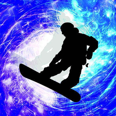 Snowboarder Painting - Snowboarder In Whiteout by Elaine Plesser