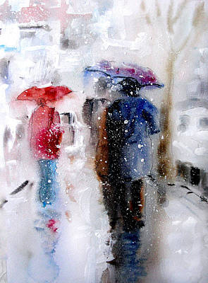 Animals Painting - Snowing In The City by Steven Ponsford