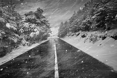 Snowstorm In The Road Print by Guido Montanes Castillo