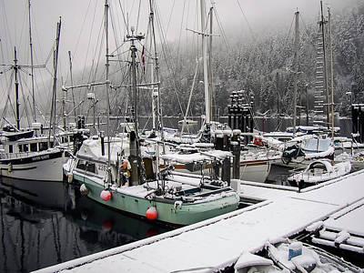 Hornby Island Photograph - Snowy Boats by Derek Holzapfel