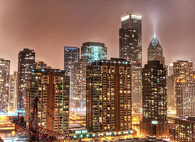 Snowy Chicago Skyline Print by Christopher.F Photography