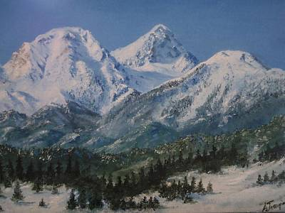 Greece Painting - Snowy Mt Giona Greece by Alexandros Tsourakis