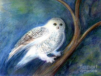 Snowy Owl At Night Print by Maureen Ida Farley