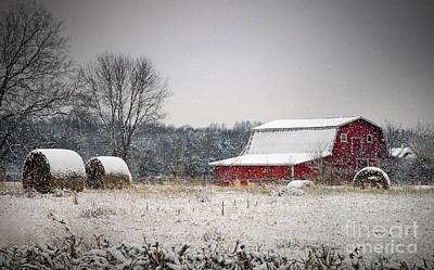 Snowy Red Barn Print by Cheryl Davis