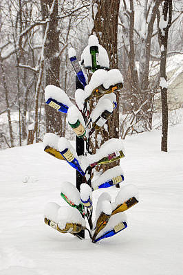 Snowy Wine Bottle Sculpture Print by Aimee L Maher Photography and Art Visit ALMGallerydotcom