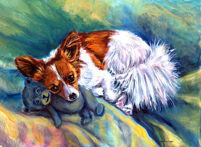 Snuggles - Papillon Dog Print by Lyn Cook