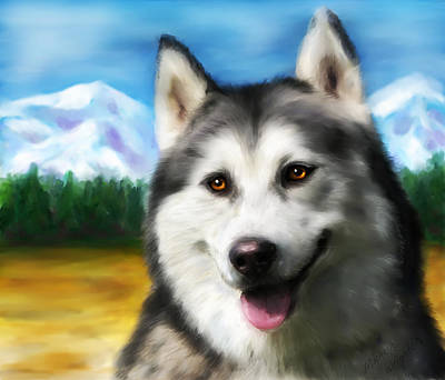 Pet Portrait Digital Art - Smiling Siberian Husky  Painting by Michelle Wrighton