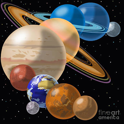 Astronomical Art Drawing - Solar System by Mark Giles and Photo Researchers