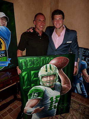 Donated  Signed Tim Tebow Jets Original Painting Donated To Tim's Foundation For Auction Original by Sports Art World Wide John Prince