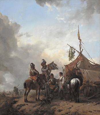 Flirtation Painting - Soldiers Carousing With A Serving Woman Outside A Tent by Philips Wouwerman