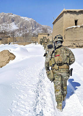 Soldiers Conduct A Patrol In Shah Joy Print by Stocktrek Images