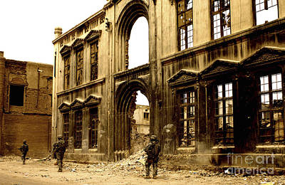 Soldiers Patrolling Past The Facade Print by Stocktrek Images