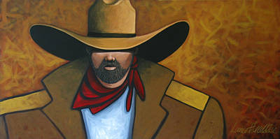Earth Tones Painting - Solo Cowboy by Lance Headlee