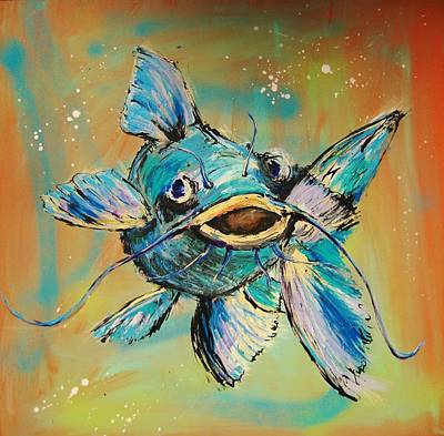 Catfish Mixed Media - Something In The Water by Dan MacCosbe