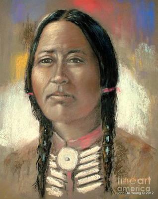 Pastel Portraits Pastel - Souix Woman by John De Young