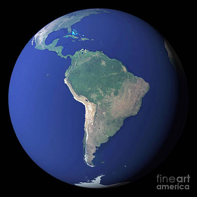 Terrestrial Sphere Photograph - South America by Stocktrek Images