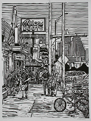 Lino Drawing - South Congress by William Cauthern