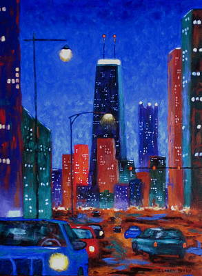 Hancock Building Painting - South On Clark Street by J Loren Reedy