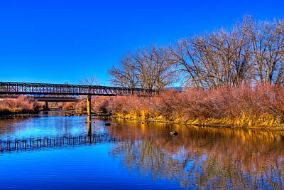 South Platte Bridge Reflected Print by David Patterson