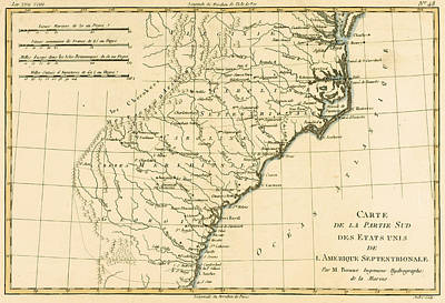 Virginia Drawing - Southeast Coast Of America by Guillaume Raynal