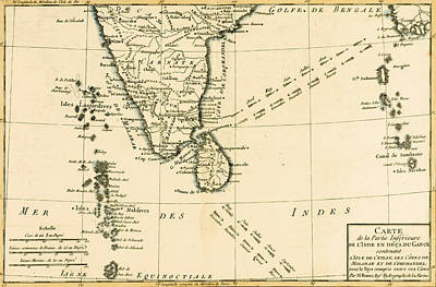 Trade Drawing - Southern India And Ceylon by Guillaume Raynal