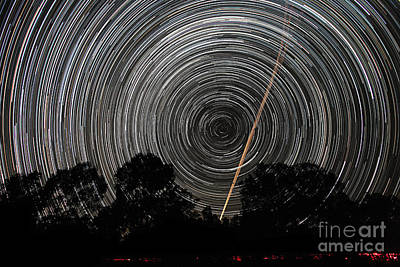 Southern Sky Star Trails And Aircraft Print by Philip Hart