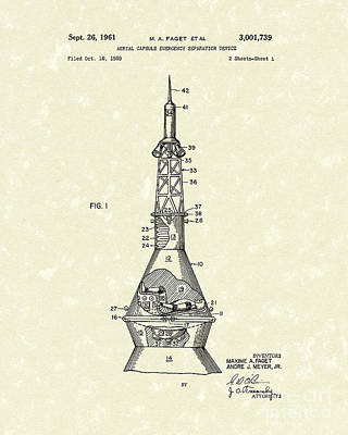 Rocket Drawing - Space Capsule 1961 Patent Art #1 by Prior Art Design