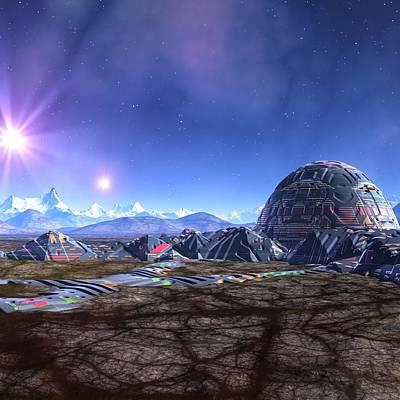 Building Exterior Digital Art - Space Colony, Artwork by Mehau Kulyk