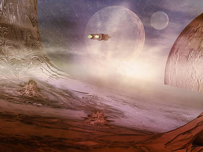 Crater Digital Art - Space Exploration by Carol and Mike Werner