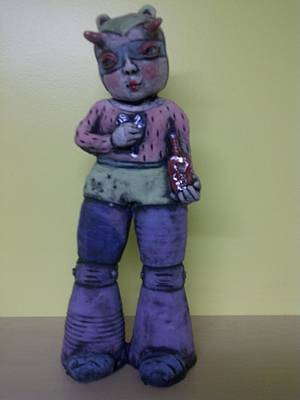Space Girl With Tincture Bottle Print by Kathleen Raven