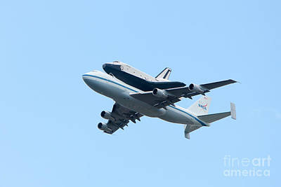Space Shuttle Enterprise Arrives In New York City Print by Clarence Holmes