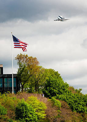 Space Shuttle Enterprise With Us Flag Print by Anthony S Torres
