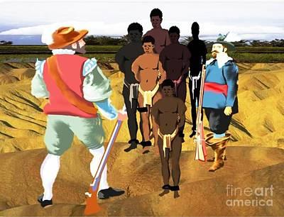 Spaniards Capturing Slaves Print by Belinda Threeths