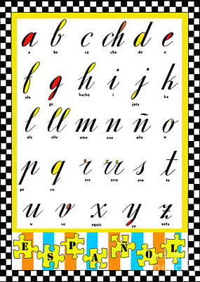 Juvenile Licensing Mixed Media - Spanish Alphabet Juvenile Licensing Art by Anahi DeCanio
