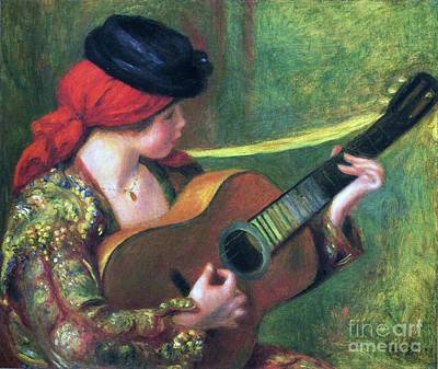 Spanish Girl With Guitar Print by Pg Reproductions