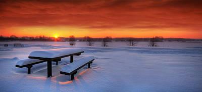 Panoramic Digital Art - Spectaculat Winter Sunset by Jaroslaw Grudzinski