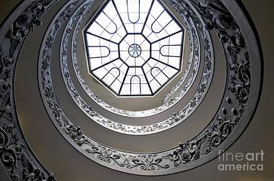Spiral Staircase In The Vatican Museums Print by Bernard Jaubert