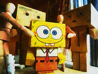 Spongebob Always Loves The Group Hugs Print by Steve Taylor