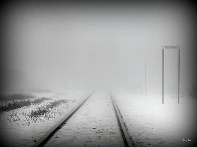 Snow-covered Landscape Mixed Media - Spooky Train Tracks by Ms Judi