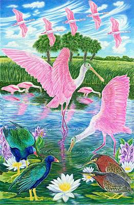 Spoonbill Drawing - Spoonbill Heaven by Tim McCarthy
