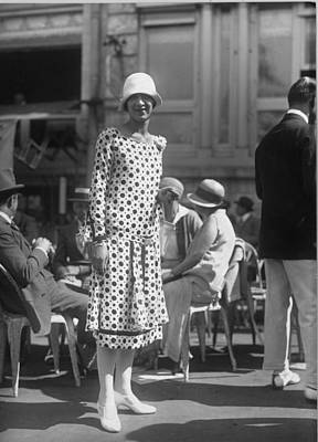 Cloche Hat Photograph - Spotted Dress by Seeberger Freres
