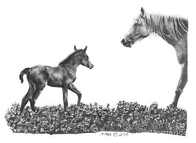 Custom Horse Portrait Drawing - Spring Delights by Marianne NANA Betts