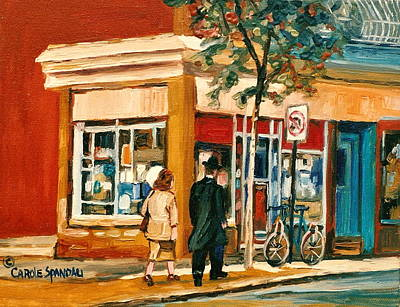 Store Fronts Painting - Spring Time In Montreal City Scene by Carole Spandau
