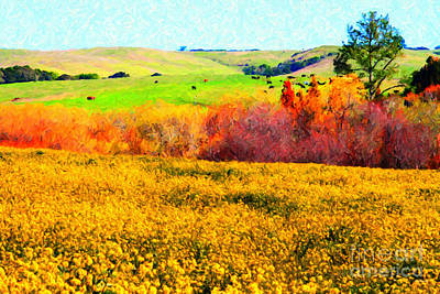 Springtime In The Golden Hills . 7d12402 Print by Wingsdomain Art and Photography