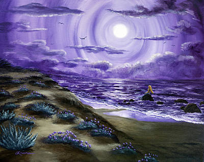 Half Moon Bay Painting - Spying A Mermaid From Flowering Sand Dunes by Laura Iverson